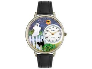 Halloween Ghost Black Skin Leather And Silvertone Watch #U1220032