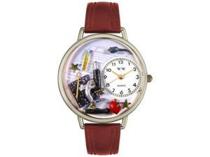 Science Teacher Burgundy Leather And Silvertone Watch #U0640004