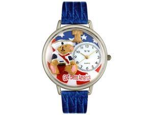 Patriotic Teddy Bear Royal Blue Leather And Silvertone Watch #U0230004