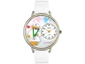 Nurse Teddy Bear White Leather And Silvertone Watch #U0230005