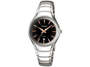 Casio Women's LTP1325D-1AV Silver Stainless-Steel Quartz Watch with Black Dial