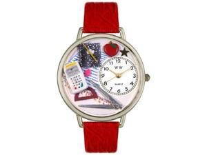 Math Teacher Red Leather And Silvertone Watch #U0640007