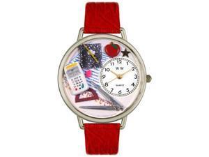 Math Teacher Red Leather And Silvertone Watch #U0640007