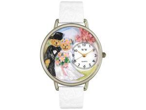 Teddy Bear Wedding White Leather And Silvertone Watch #U1340002