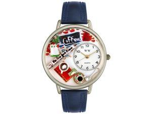 Coffee Lover Navy Blue Leather And Silvertone Watch #U0310006