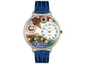 Chocolate Lover Royal Blue Leather And Silvertone Watch #U0310007