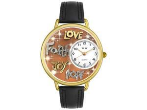 Faith Hope Love Joy Black Leather And Goldtone Watch #G0710015