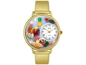 Holiday Feast Gold Leather And Goldtone Watch #G1220037