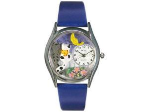Cats Night Out Royal Blue Leather And Silvertone Watch #S0120012