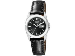 Citizen Women's EQ0560-09E Black Leather Quartz Watch with Black Dial