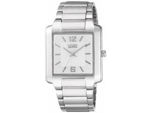 Citizen Men's Eco-Drive BJ6431-56A Silver Stainless-Steel Eco-Drive Watch with White Dial
