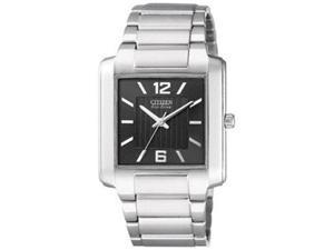 Citizen Men's Eco-Drive BJ6431-56E Silver Stainless-Steel Eco-Drive Watch with Black Dial