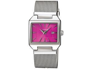 Casio Women's LTP1333BD-4A Silver Stainless-Steel Quartz Watch with Pink Dial