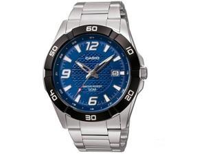 Casio Men's MTP1292D-2AV Silver Stainless-Steel Quartz Watch with Blue Dial