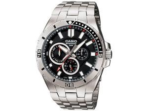 Casio Men's MTD1060D-1AV Silver Stainless-Steel Quartz Watch with Black Dial