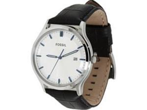 Fossil Men's FS4671 Leather Quartz Watch with White Dial