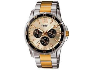 Casio Men's MTP1299SG-9AV Silver Stainless-Steel Quartz Watch with Gold Dial