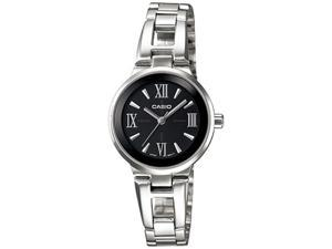 Casio Women's LTP1340D-1A Silver Stainless-Steel Quartz Watch with Black Dial