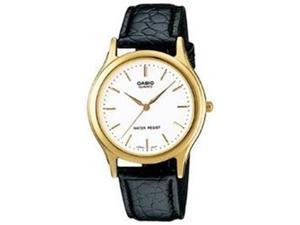 Casio Men's MTP1093Q-7A Black Leather Quartz Watch with White Dial