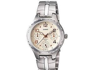 Casio Women's LTP2064A-7A3V Silver Stainless-Steel Quartz Watch with White Dial