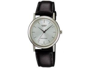 Casio Men's MTP1095E-7A Black Leather Quartz Watch with Silver Dial