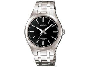 Casio Men's MTP1310D-1AV Silver Stainless-Steel Quartz Watch with Black Dial