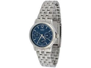 Casio Men's MTP1174A-2A Silver Stainless-Steel Quartz Watch with Blue Dial