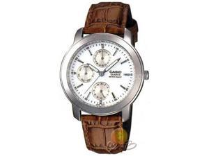 Casio Men's MTP1192E-7A Brown Leather Quartz Watch with White Dial