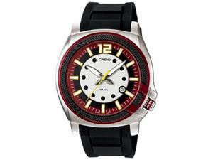 Casio Men's MTP1317-4AV Black Resin Quartz Watch with Red Dial