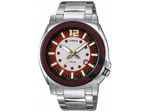 Casio Men's MTP1317D-4AV Silver Stainless-Steel Quartz Watch with Red Dial
