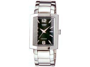 Casio Men's MTP1233D-1A Silver Stainless-Steel Quartz Watch with Black Dial