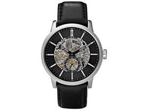 Fossil Men's ME3018 Black Leather Automatic Watch with Black Dial