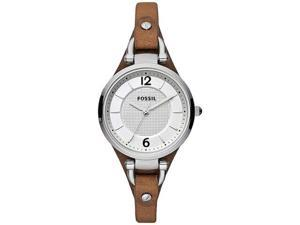 Fossil Women's Leather ES3060 Brown Calf Skin Analog Quartz Watch with Silver Dial