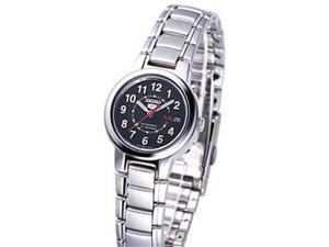 Seiko Women's 5 Automatic SYME51K Silver Stainless-Steel Automatic Watch with Black Dial