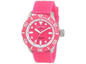 Nautica Women's NSR 100 N09607G Pink Resin Quartz Watch with Pink Dial