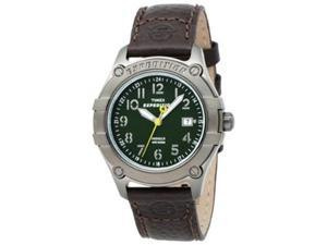 Timex Men's Expedition T49804 Brown Calf Skin Quartz Watch with Green Dial