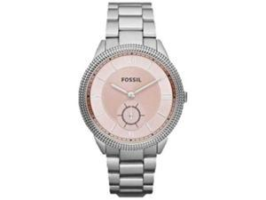 Fossil Women's Sydney ES3064 Silver Stainless-Steel Analog Quartz Watch with Pink Dial