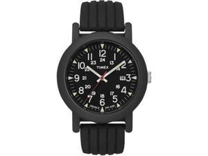 Timex Men's T2N694 Black Resin Analog Quartz Watch with Black Dial