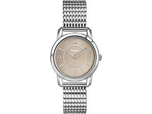 Timex Women's Elevated Classics T2N845 Silver Stainless-Steel Quartz Watch with Brown Dial