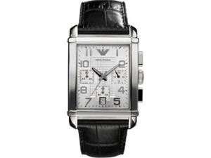 Emporio Armani Men's AR0333 Black Leather Quartz Watch with Silver Dial