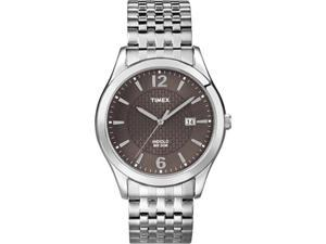 Timex Men's T2N848 Silver Stainless-Steel Quartz Watch with Brown Dial