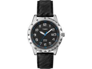 Timex Men's Sport T2N920 Black Leather Quartz Watch with Black Dial