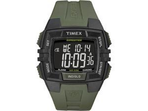 Timex Men's Chrono Alarm Timer T49903 Green Resin Quartz Watch with Digital Dial