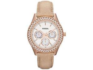 Fossil Women's Dylan ES3104 Beige Calf Skin Quartz Watch with White Dial