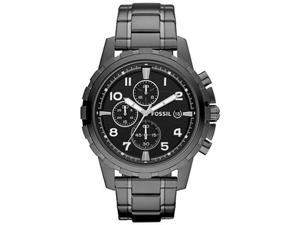 Fossil Men's Dean FS4721 Black Stainless-Steel Quartz Watch with Black Dial