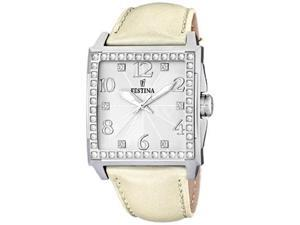 Festina Women's F16571/1 Beige Leather Quartz Watch with Silver Dial