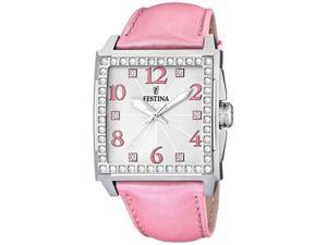 Festina Women's F16571/2 Pink Leather Quartz Watch with Silver Dial