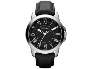 Fossil Men's Grant FS4745 Black Leather Quartz Watch with Black Dial