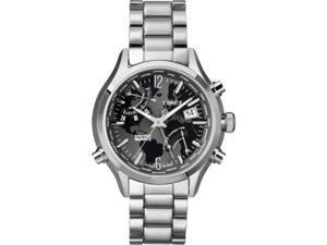 Timex Men's Intelligent Quartz T2N944 Silver Stainless-Steel Quartz Watch with Black Dial