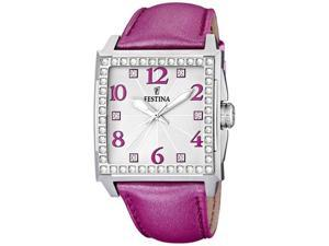 Festina Women's F16571/4 Pink Leather Quartz Watch with Silver Dial
